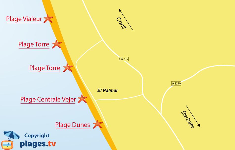 Plan des plages à El Palmar en Andalousie - Espagne