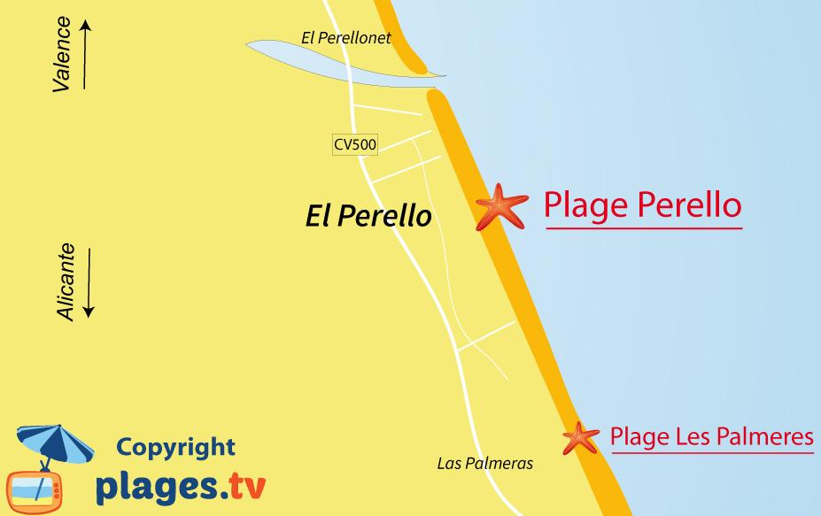 Plan des plages d'El Perello en Espagne