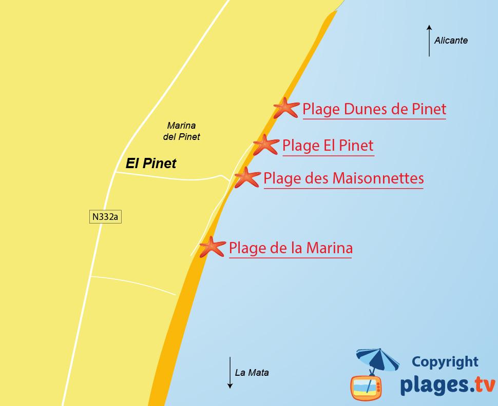 Plan des plages d'El Pinet et de Elche - Espagne