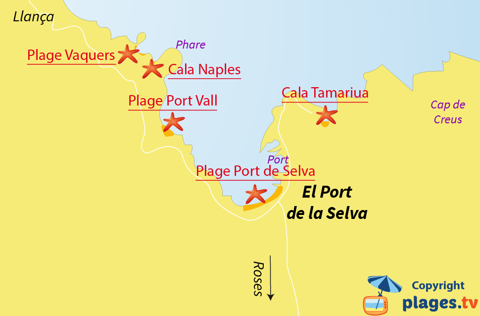 Plan des plages d'El Port de la Selva en Espagne