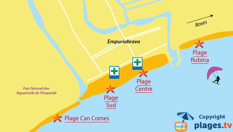 Plan des plages d'Empuriabrava en Espagne