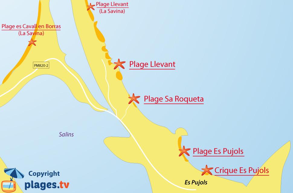 Plan de la plage d'Es Pujols à Formentera