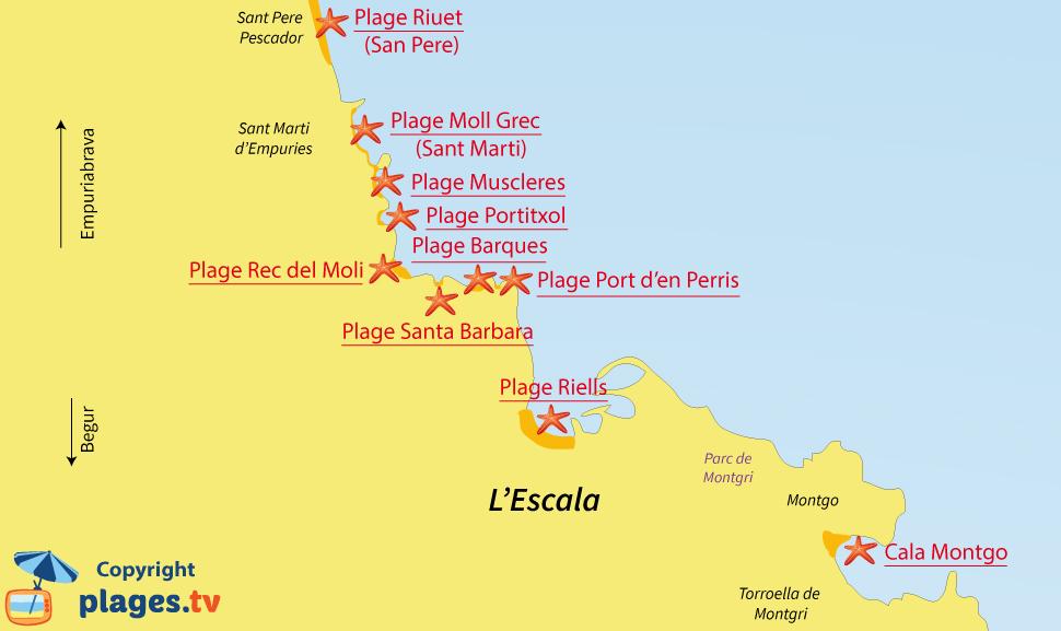 Plan des plages de l'Escala en Espagne