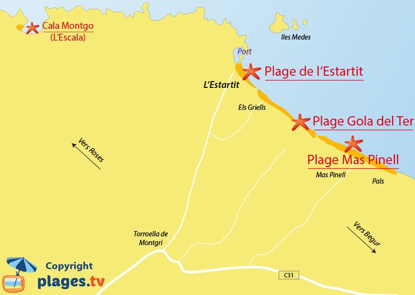 Plan des plages de l'Estartit en Espagne