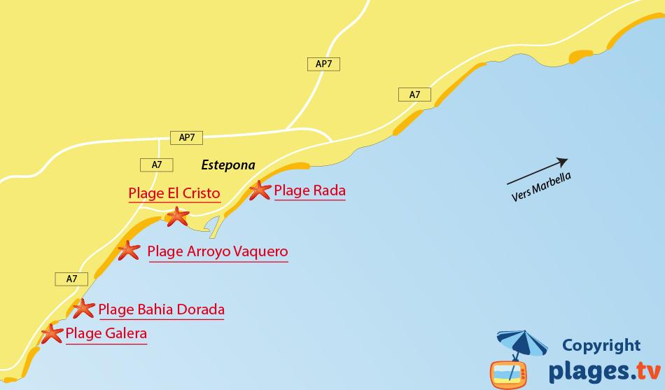 Plan des plages à Estepona en Espagne