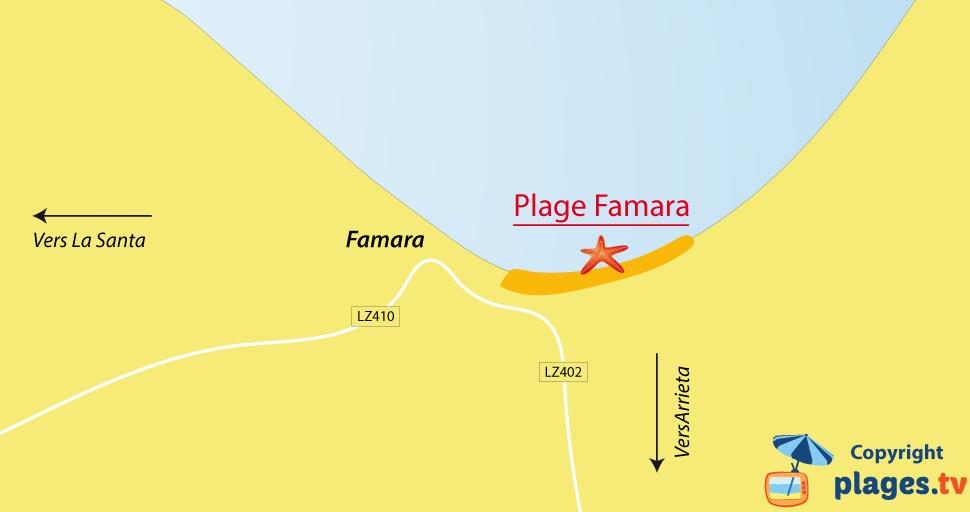 Plan des plages de Famara à Lanzarote