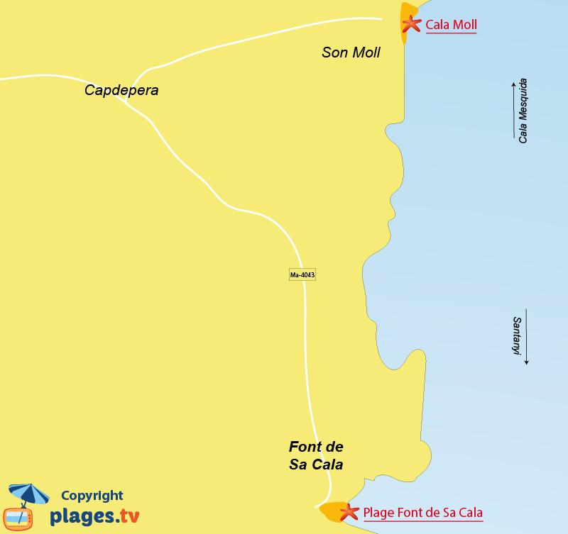 Plan des plages de Font de sa Cala à Majorque