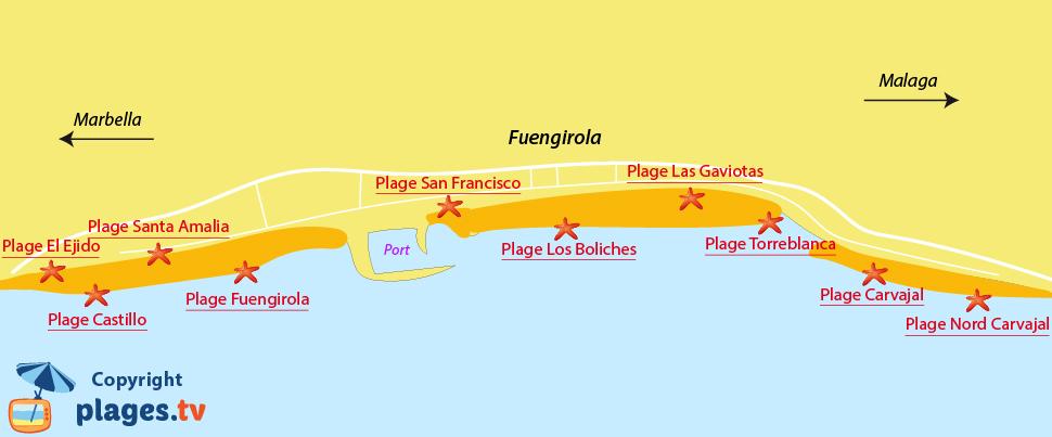Plan des plages de Fuengirola en Espagne en Andalousie