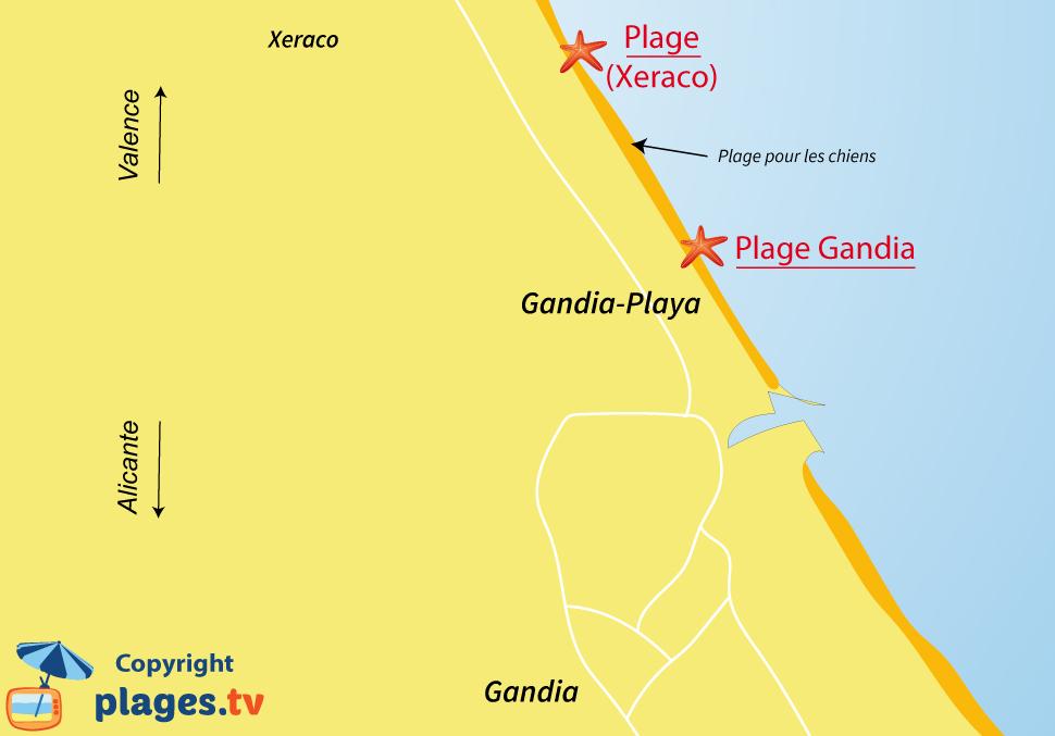 Plan des plages de Gandia en Espagne