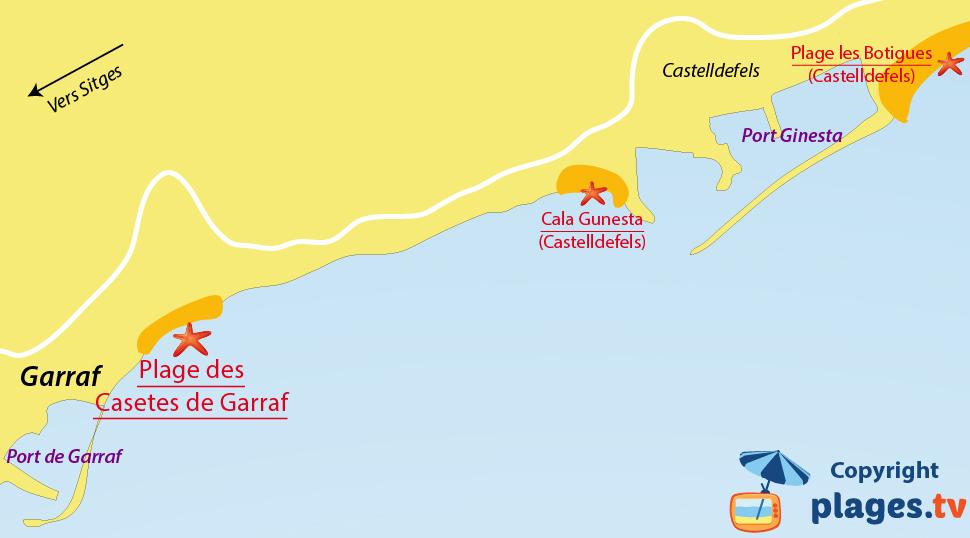Plan des plages de Garraf en Espagne
