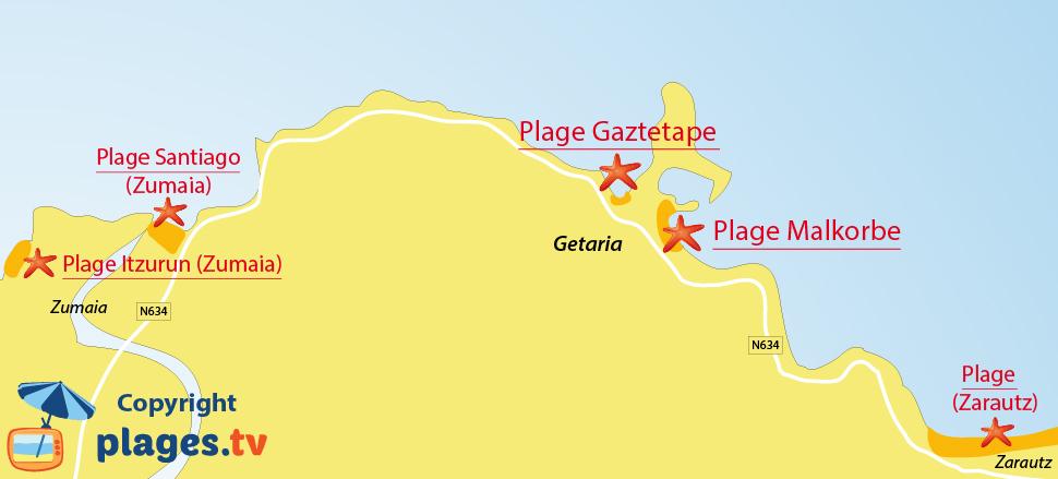 Plan des plages de Getaria dans le pays basques espagnol