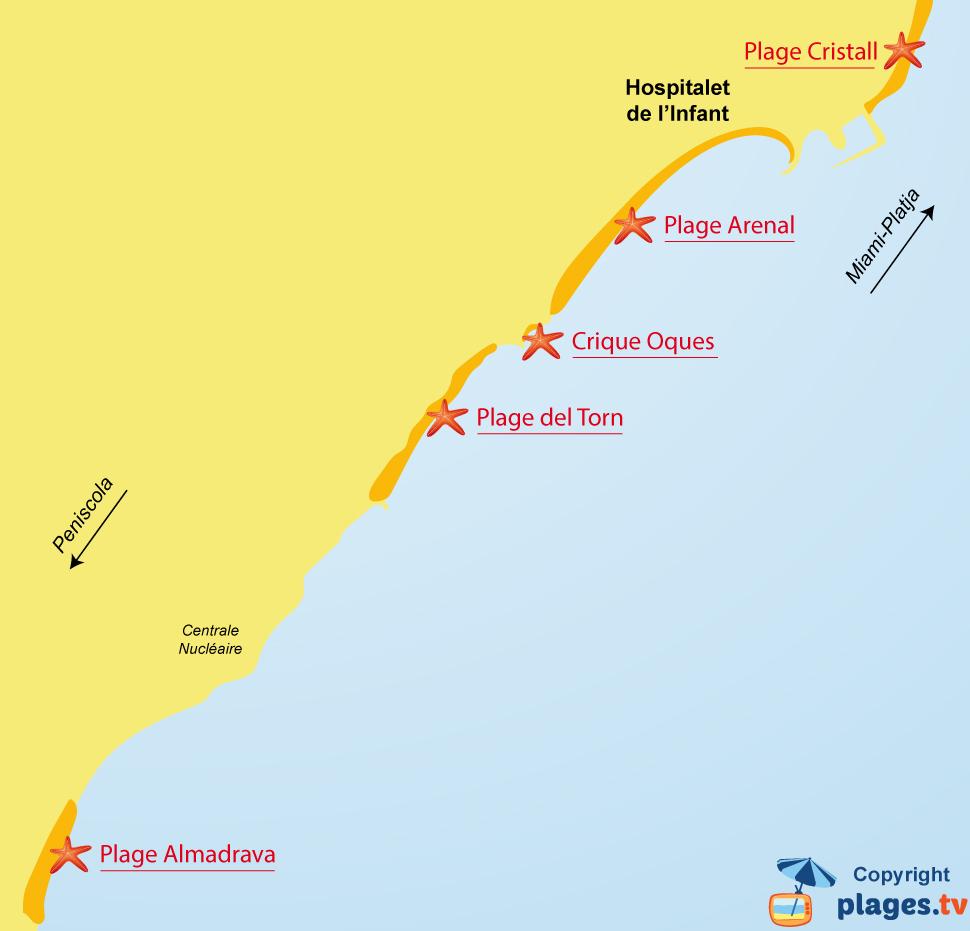 Plan des plages de l'Hospitalet de l'Infant en Espagne