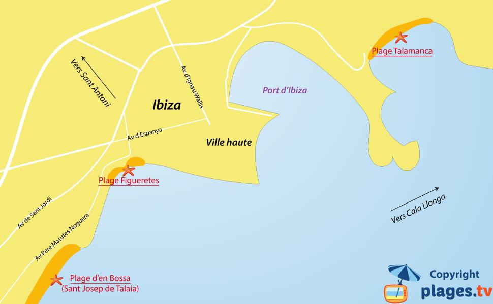 Plan des plages d'Ibiza en Espagne