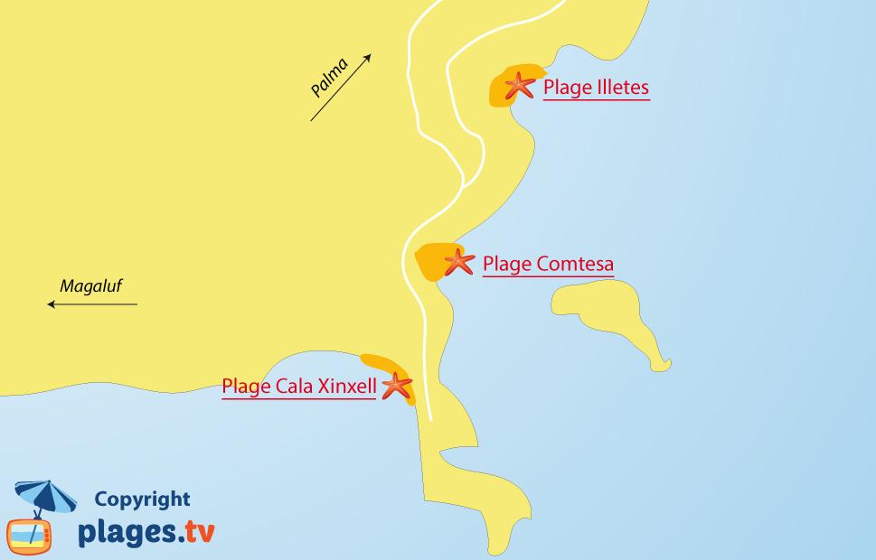 Plan des plages des Illetes à Majorque - Baléares