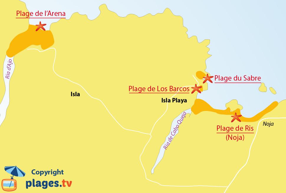 Plan des plages à Isla en Cantabrie en Espagne