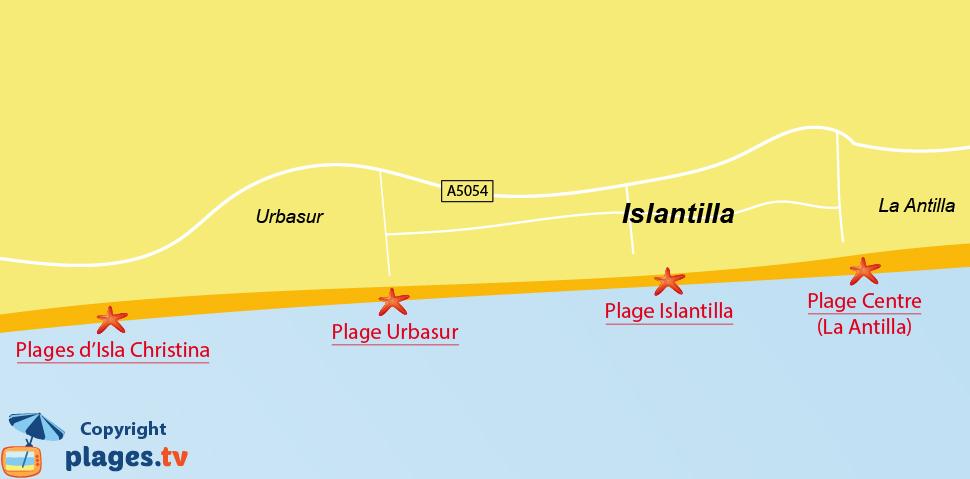 Plan des plages à Islantilla en Andalousie - Espagne