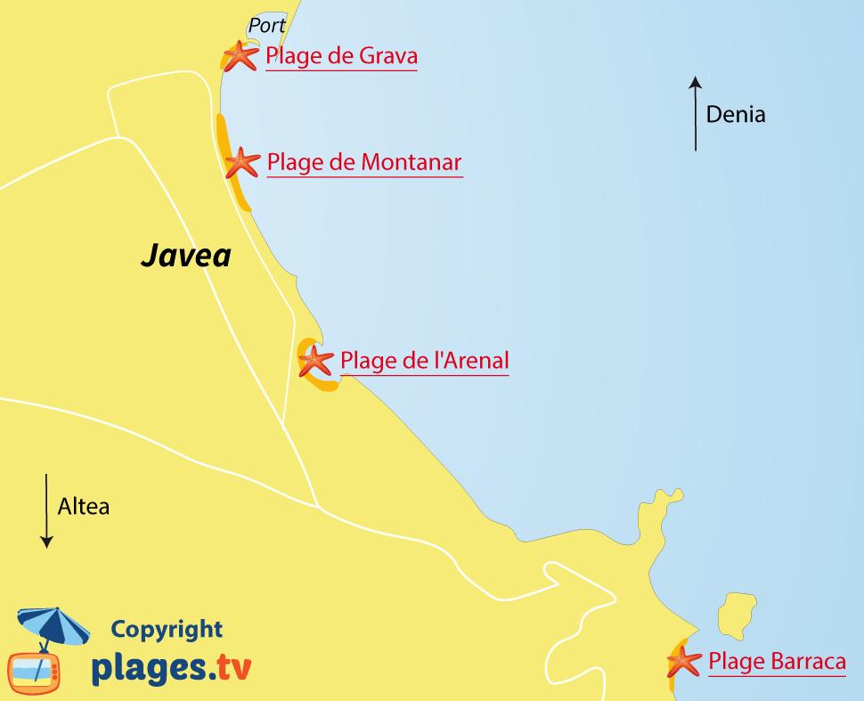 Plan des plages de Javea Xabia en Espagne