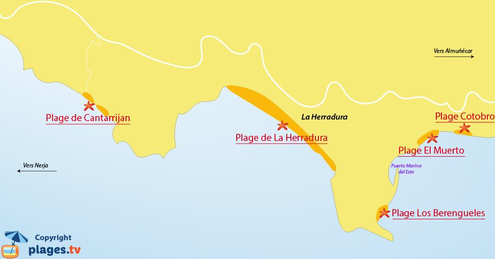 Plan des plages de La Herradura en Espagne - Andalousie