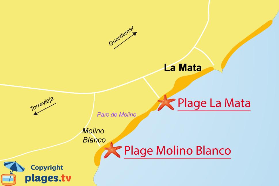 Plan des plages de La Mata en Espagne