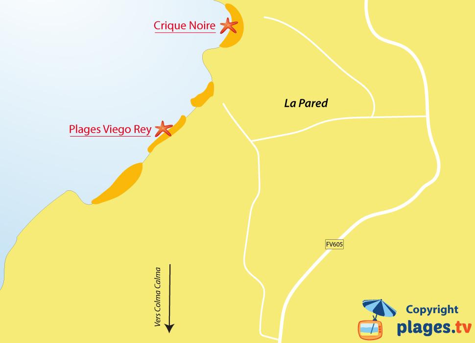 Plan des plages de La Pared à Fuerteventura - Canaries