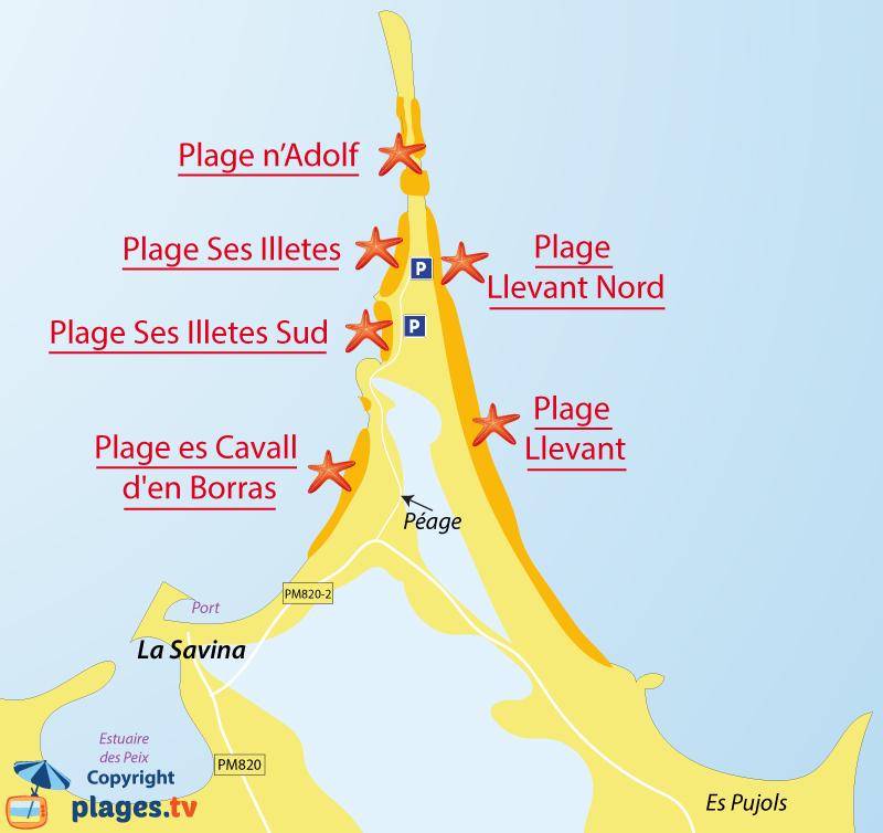 Plan des plages de La Savina à Formentera et de Ses Illetes