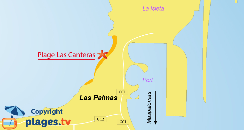 Plan des plages de Las Palmas à Gran Canaria