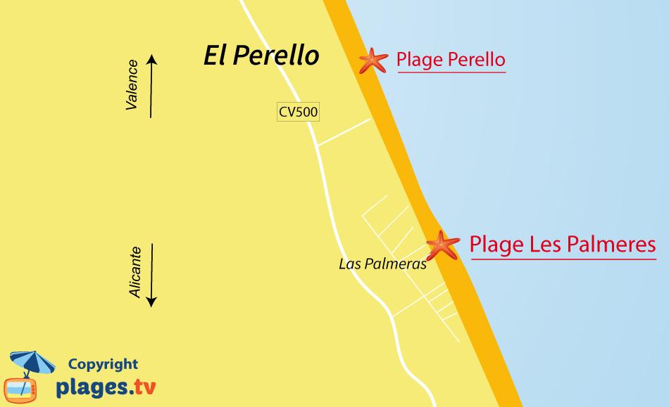 Plan des plages de Las Palmeras en Espagne