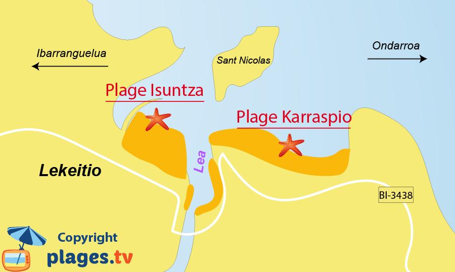 Plan des plages de Lekeitio dans le pays basque espagnols