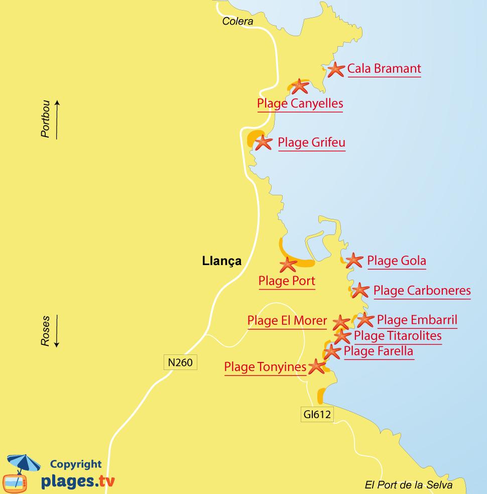 Plan des plages de Llança sur la Costa Brava en Espagne