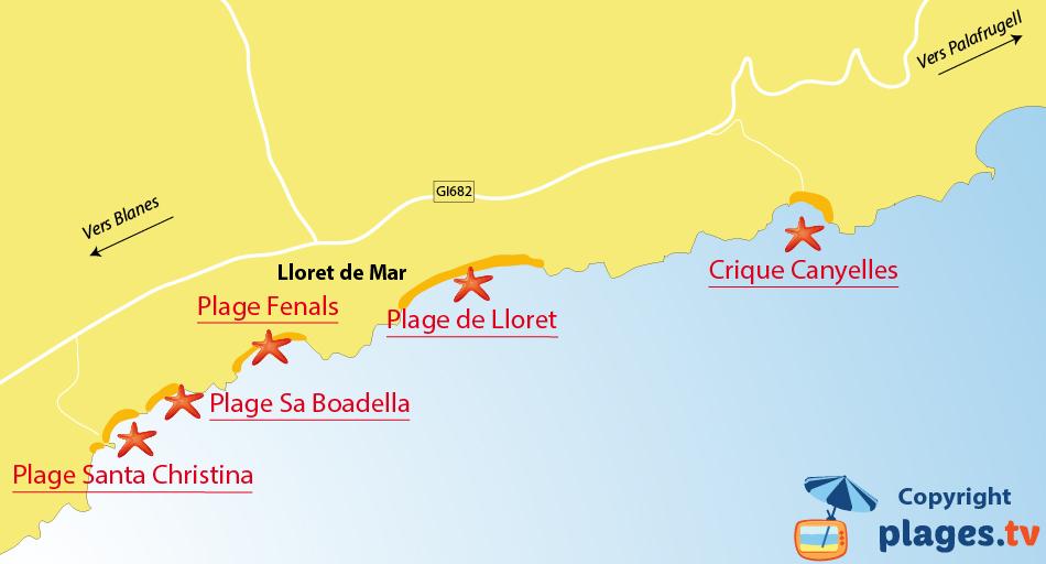 Plan des plages de Lloret de Mar en Espagne sur la Costa Brava