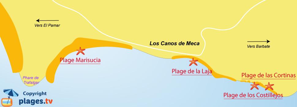 Plan des plages de Los Canos de Meca en Andalousie - Espagne