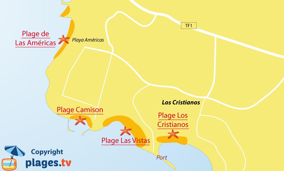 Plan des plages de Los Cristianos à tenerife - Iles Canaries
