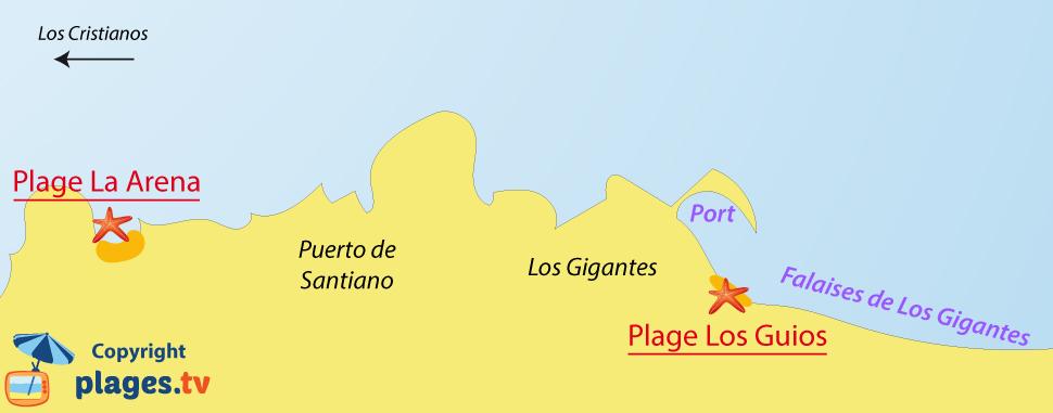 Plan des plages de Los Gigantes à Tenerife