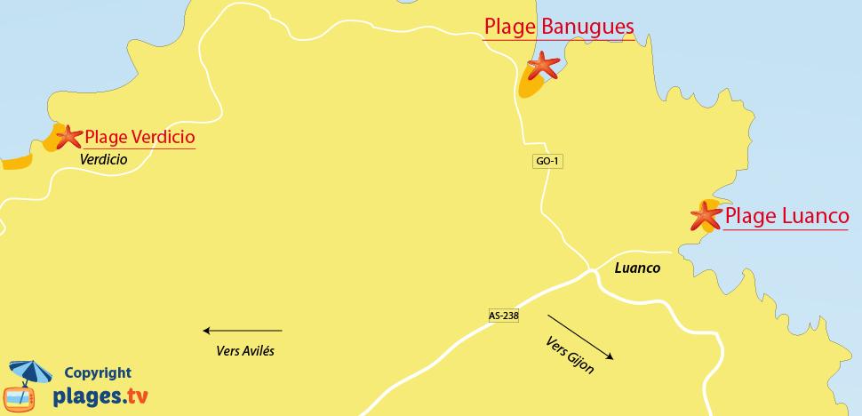 Plan des plages de Luanco en Espagne