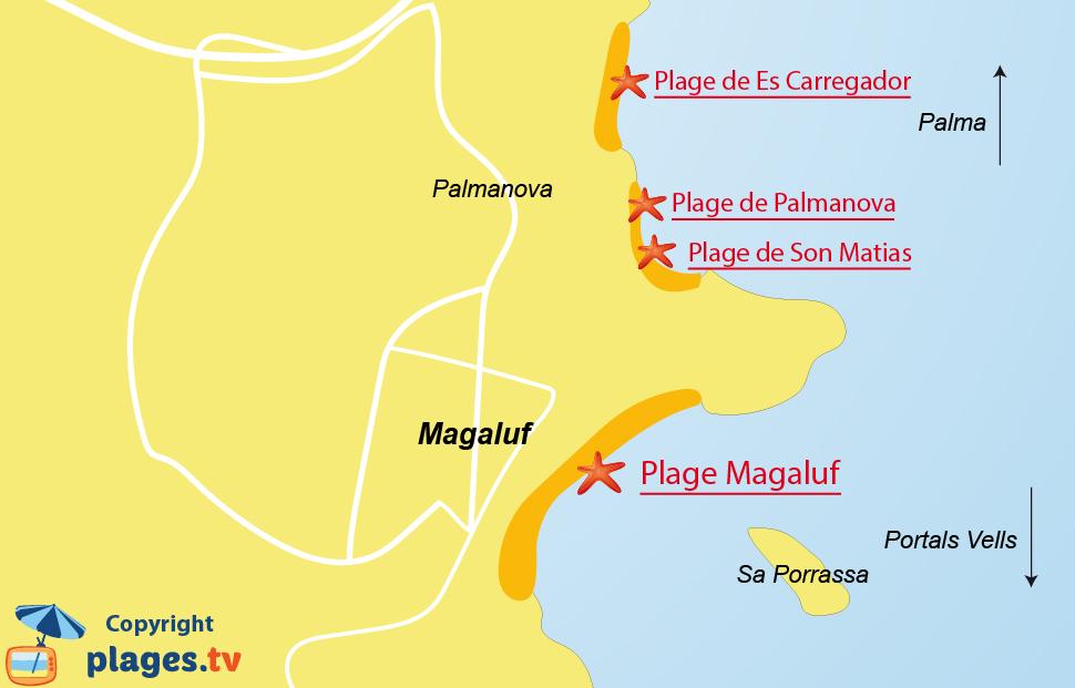 Plan des plages de Magaluf à Majorque - Baléares