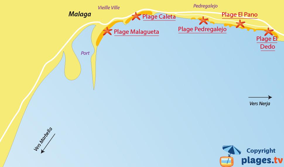 Plan des plages de Malaga en Espagne - Andalousie