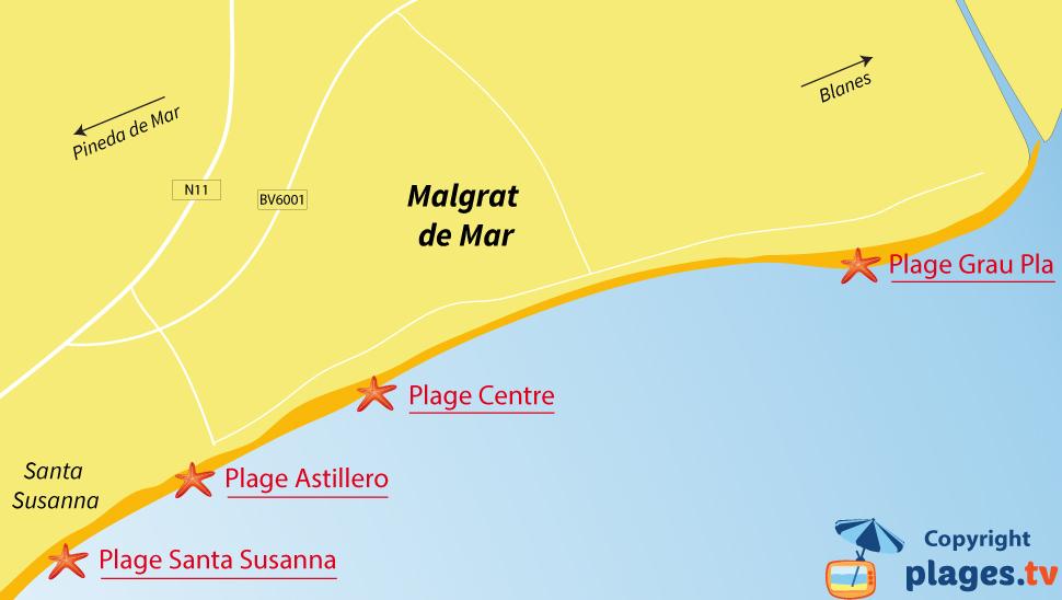 Plan des plages de Malgrat de Mar en Espagne