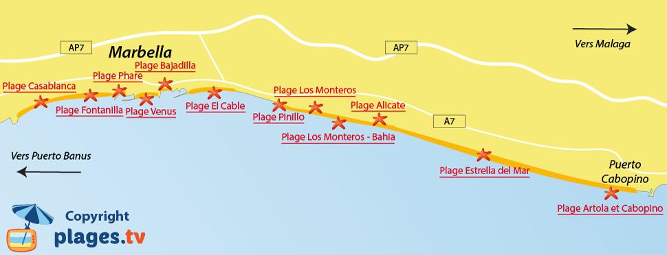 Plan des plages de Marbella en Andalousie - Espagne