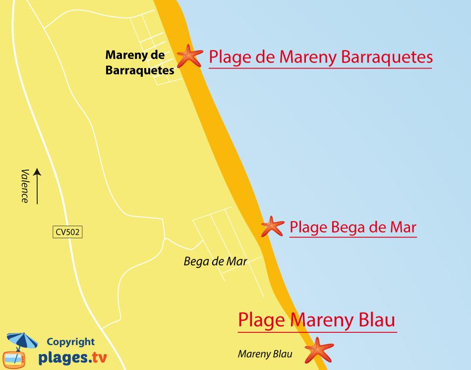 Plan des plages de Mareny de Barraquetes en Espagne