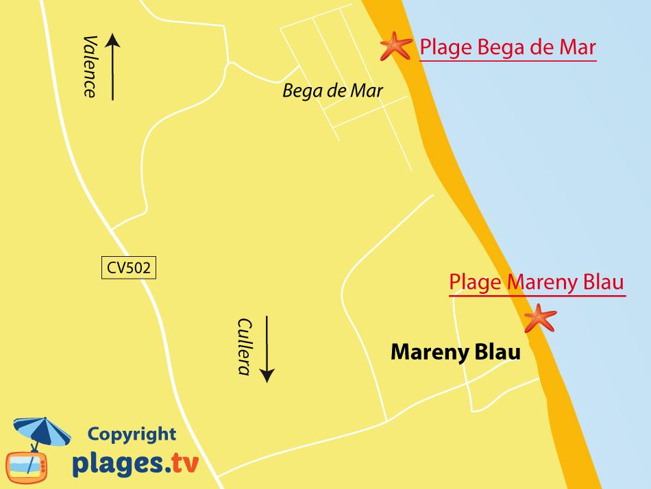 Plan des plages de Mareny Blau en Espagne
