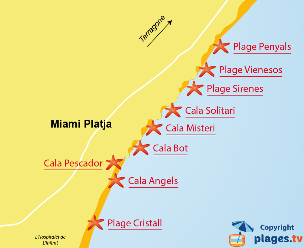 Plan des plages de Miami Platja en Espagne