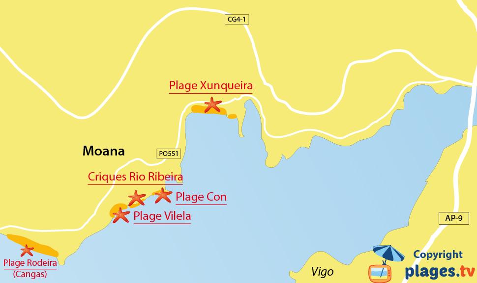 Plan des plages de Moana en Espagne - Galice