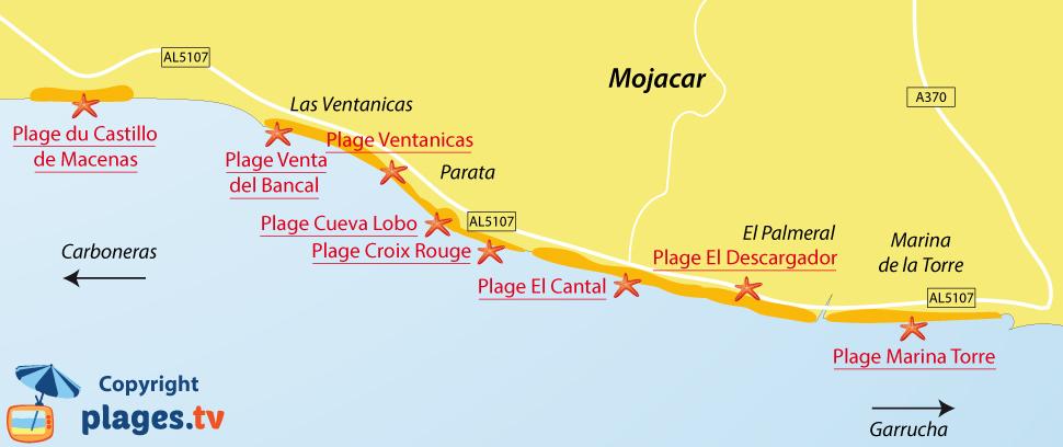 Plan des plages de Mojacar en Andalousie - Espagne