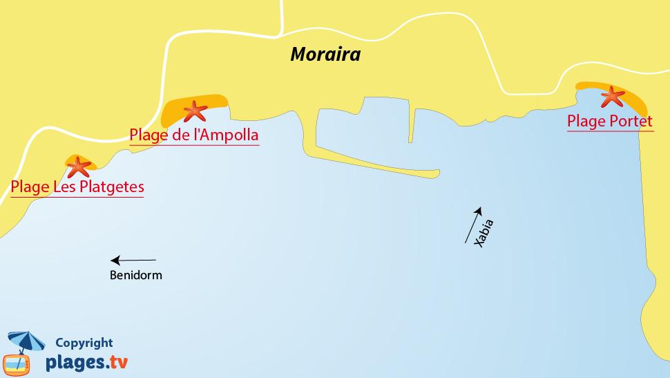 Plan des plages de Moraira en Espagne