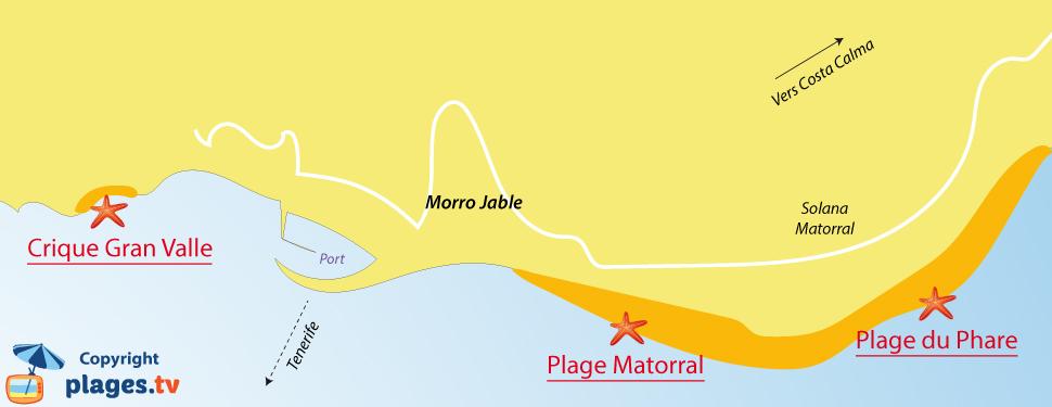 Plan des plages de Morro Jable à Fuerteventura - Iles Canaries