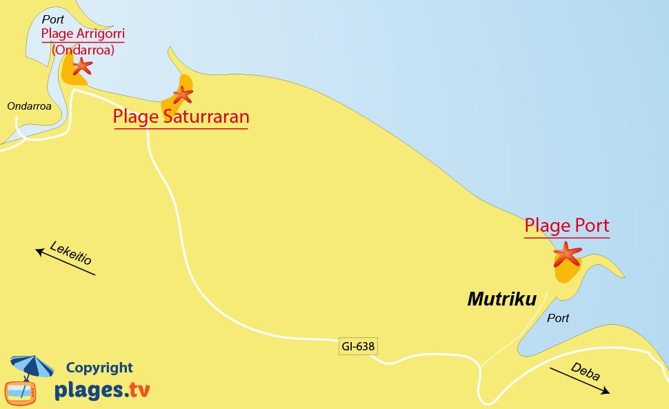 Plan des plages de Mutriku dans le pays basque