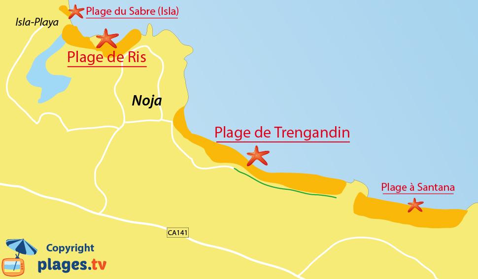 Plan de la plage de Noja en Espagne