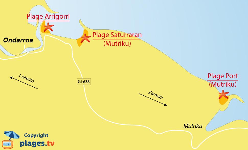 Plan des plages à Ondarroa dans le Pays Basque