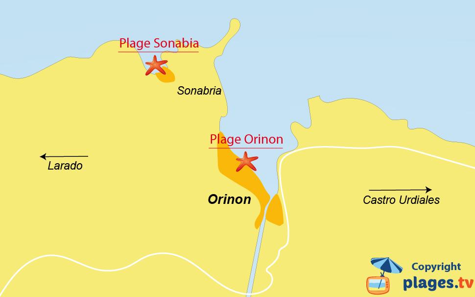 Plan des plages à Orinon en Cantabrie