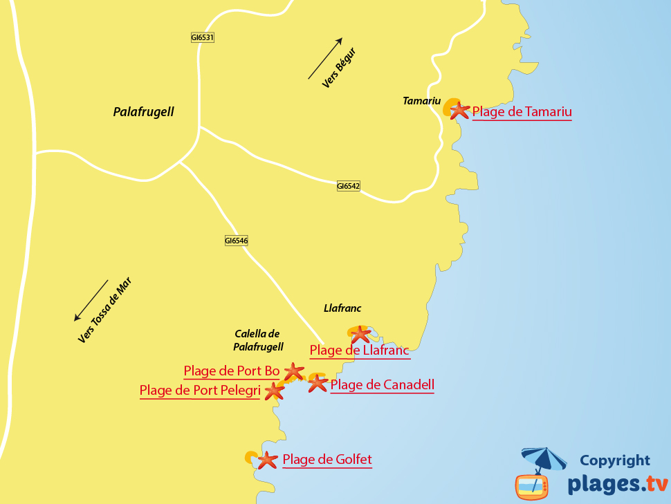 Plan des plages de Palafrugell en Espagne - Costa Brava